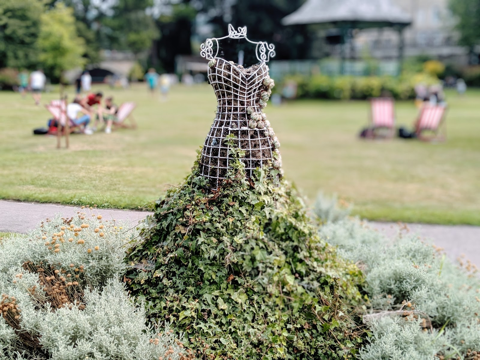 Dress shaped wire frame covered in ivy in Parade Gardens